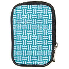 Woven1 White Marble & Turquoise Glitter Compact Camera Cases by trendistuff