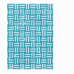 Woven1 White Marble & Turquoise Glitter Large Garden Flag (two Sides) by trendistuff