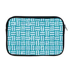 Woven1 White Marble & Turquoise Glitter Apple Macbook Pro 17  Zipper Case by trendistuff