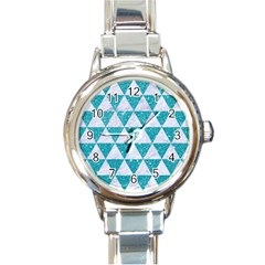 Triangle3 White Marble & Turquoise Glitter Round Italian Charm Watch by trendistuff