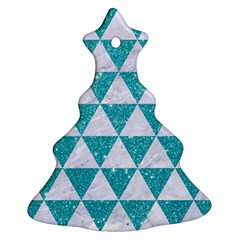 Triangle3 White Marble & Turquoise Glitter Christmas Tree Ornament (two Sides) by trendistuff