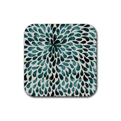 Teal Abstract Swirl Drops Rubber Coaster (square)  by vintage2030