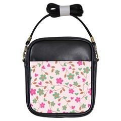 Pink Vintage Flowers Girls Sling Bags by vintage2030