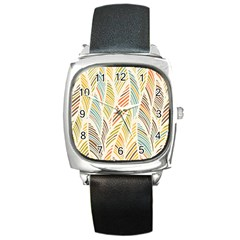 Decorative  Seamless Pattern Square Metal Watch by TastefulDesigns