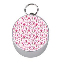 Watercolor Spring Flowers Pattern Mini Silver Compasses by TastefulDesigns