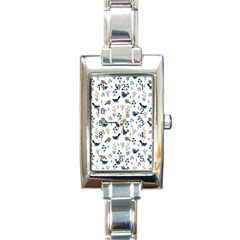 Spring Flowers And Birds Pattern Rectangle Italian Charm Watch by TastefulDesigns
