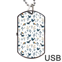 Spring Flowers And Birds Pattern Dog Tag Usb Flash (one Side) by TastefulDesigns