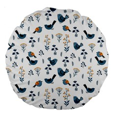 Spring Flowers And Birds Pattern Large 18  Premium Round Cushions