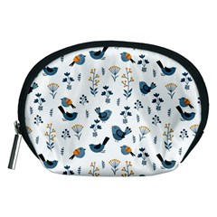 Spring Flowers And Birds Pattern Accessory Pouches (medium)