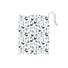 Spring Flowers And Birds Pattern Drawstring Pouches (small)