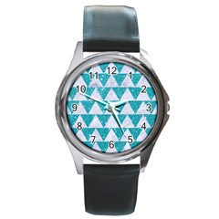 Triangle2 White Marble & Turquoise Glitter Round Metal Watch by trendistuff