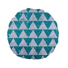Triangle2 White Marble & Turquoise Glitter Standard 15  Premium Round Cushions