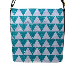 Triangle2 White Marble & Turquoise Glitter Flap Messenger Bag (l)  by trendistuff
