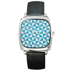 Triangle1 White Marble & Turquoise Glitter Square Metal Watch by trendistuff
