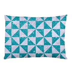 Triangle1 White Marble & Turquoise Glitter Pillow Case by trendistuff
