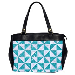 Triangle1 White Marble & Turquoise Glitter Office Handbags (2 Sides)  by trendistuff