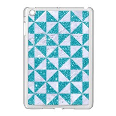 Triangle1 White Marble & Turquoise Glitter Apple Ipad Mini Case (white) by trendistuff
