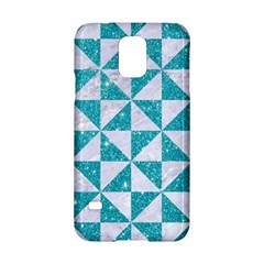 Triangle1 White Marble & Turquoise Glitter Samsung Galaxy S5 Hardshell Case  by trendistuff