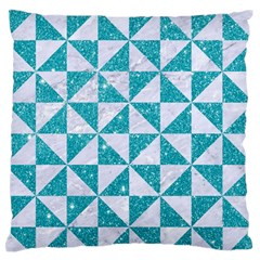 Triangle1 White Marble & Turquoise Glitter Large Flano Cushion Case (two Sides) by trendistuff