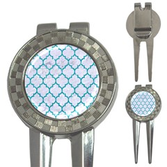 Tile1 White Marble & Turquoise Glitter (r) 3 In 1 Golf Divots by trendistuff