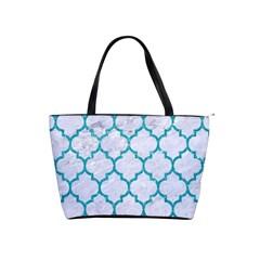 Tile1 White Marble & Turquoise Glitter (r) Shoulder Handbags
