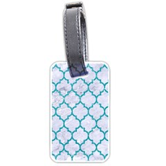 Tile1 White Marble & Turquoise Glitter (r) Luggage Tags (one Side)