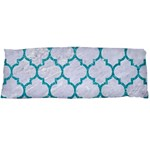 TILE1 WHITE MARBLE & TURQUOISE GLITTER (R) Body Pillow Case Dakimakura (Two Sides) Front