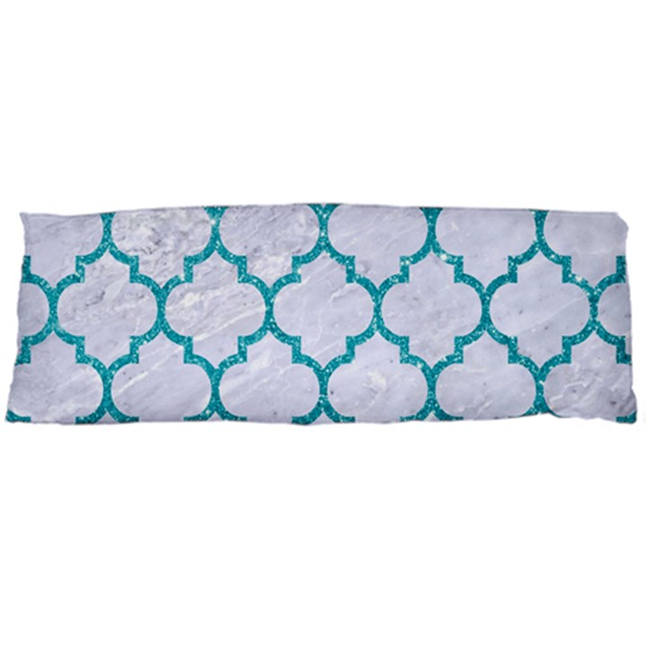 TILE1 WHITE MARBLE & TURQUOISE GLITTER (R) Body Pillow Case Dakimakura (Two Sides)