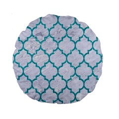Tile1 White Marble & Turquoise Glitter (r) Standard 15  Premium Round Cushions