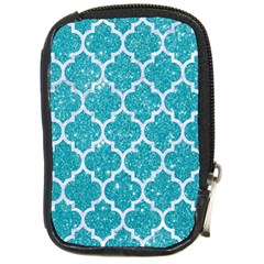 Tile1 White Marble & Turquoise Glitter Compact Camera Cases by trendistuff