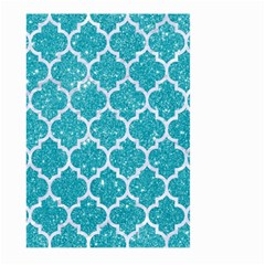Tile1 White Marble & Turquoise Glitter Large Garden Flag (two Sides) by trendistuff