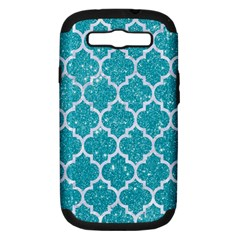 Tile1 White Marble & Turquoise Glitter Samsung Galaxy S Iii Hardshell Case (pc+silicone) by trendistuff