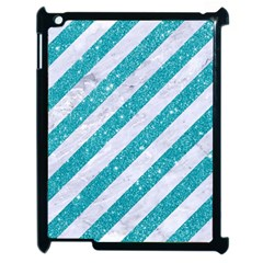 Stripes3 White Marble & Turquoise Glitter (r) Apple Ipad 2 Case (black) by trendistuff