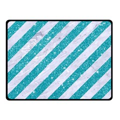 Stripes3 White Marble & Turquoise Glitter (r) Double Sided Fleece Blanket (small)  by trendistuff