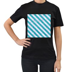 Stripes3 White Marble & Turquoise Glitter Women s T Shirt (black) (two Sided)