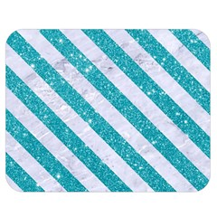 Stripes3 White Marble & Turquoise Glitter Double Sided Flano Blanket (medium)  by trendistuff