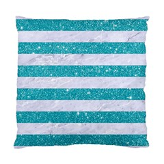 Stripes2white Marble & Turquoise Glitter Standard Cushion Case (one Side) by trendistuff