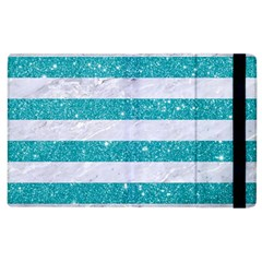 Stripes2white Marble & Turquoise Glitter Apple Ipad 2 Flip Case by trendistuff
