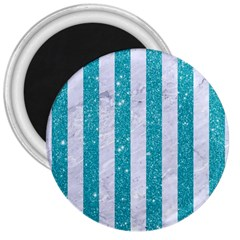 Stripes1 White Marble & Turquoise Glitter 3  Magnets by trendistuff