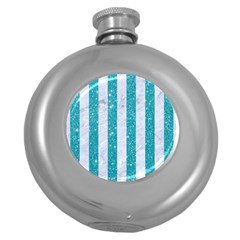 Stripes1 White Marble & Turquoise Glitter Round Hip Flask (5 Oz) by trendistuff