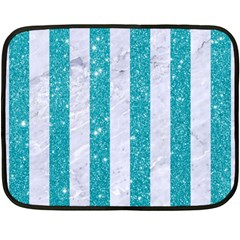 Stripes1 White Marble & Turquoise Glitter Fleece Blanket (mini) by trendistuff