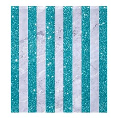 Stripes1 White Marble & Turquoise Glitter Shower Curtain 66  X 72  (large)  by trendistuff