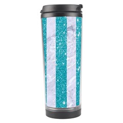 Stripes1 White Marble & Turquoise Glitter Travel Tumbler by trendistuff