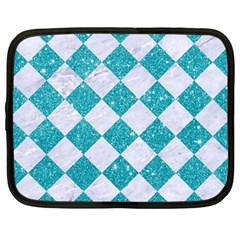 Square2 White Marble & Turquoise Glitter Netbook Case (large) by trendistuff