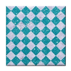 Square2 White Marble & Turquoise Glitter Face Towel by trendistuff