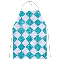 Square2 White Marble & Turquoise Glitter Full Print Aprons by trendistuff