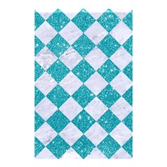 Square2 White Marble & Turquoise Glitter Shower Curtain 48  X 72  (small)  by trendistuff