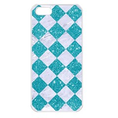 Square2 White Marble & Turquoise Glitter Apple Iphone 5 Seamless Case (white) by trendistuff