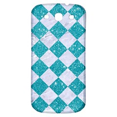 Square2 White Marble & Turquoise Glitter Samsung Galaxy S3 S Iii Classic Hardshell Back Case by trendistuff
