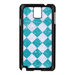 Square2 White Marble & Turquoise Glitter Samsung Galaxy Note 3 N9005 Case (black) by trendistuff